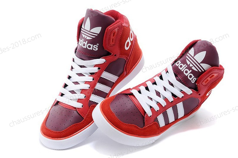 Prix Distinctifs unisexe Adidas Originals Extaball Cuir M20861 High Tops - rouge blanc - Prix Distinctifs unisexe Adidas Originals Extaball Cuir M20861 High Tops rouge blanc-01-1