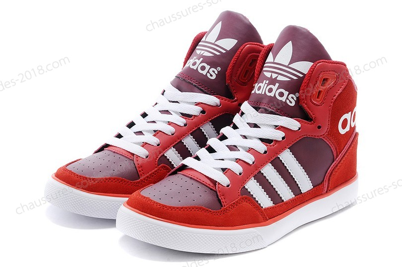 Prix Distinctifs unisexe Adidas Originals Extaball Cuir M20861 High Tops - rouge blanc - Prix Distinctifs unisexe Adidas Originals Extaball Cuir M20861 High Tops rouge blanc-01-9