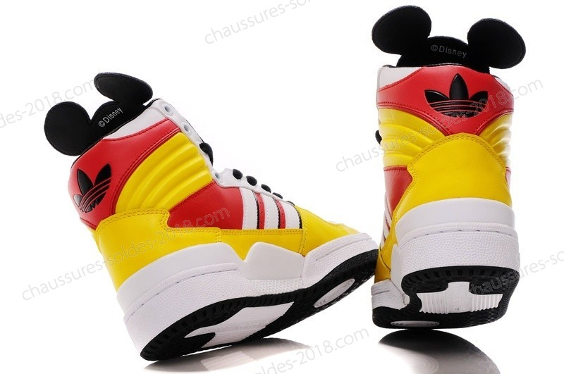 Jeremy Scott Adidas Originals JS Mickey Hi Super limited fashion Sneakers Jaune rouge blanc Noir à Prix Dynamité - Jeremy Scott Adidas Originals JS Mickey Hi Super limited fashion Sneakers Jaune rouge blanc Noir à Prix Dynamité-01-3