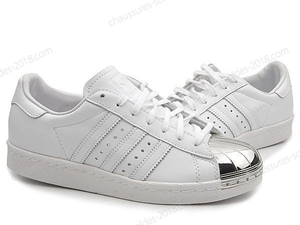 "Chaussures de Running Chic Adidas Originals Superstar 80s Metal Toe ""blanc Argent"" D67592 - Chaussures de Running Chic Adidas Originals Superstar 80s Metal Toe ""blanc Argent"" D67592-01-1"