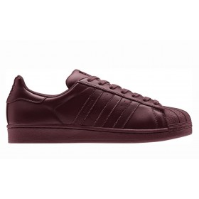 Meilleure qualité 2017 Pharrell Williams x Adidas Superstar Supercolor S41838 Casual chaussure Wine rouge Baskets