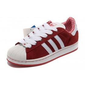 Magasin Officiel Pas Cher Adidas Superstar 2 ii suède G02010 rouge blanc Couples Running Chaussures Classic Running Chaussures